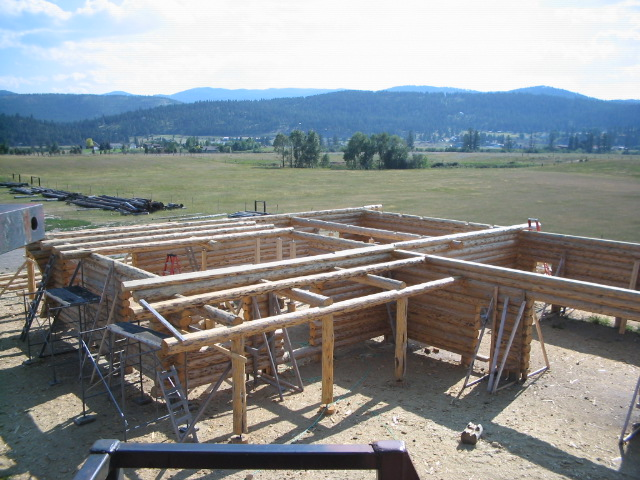 Top View with loft logs starting to be installed